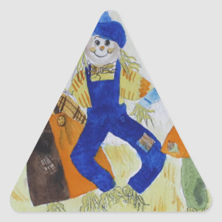 Scarecrows Dancing Triangle Sticker