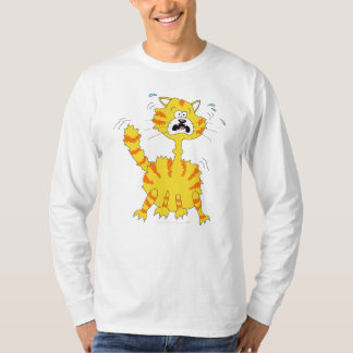 Scared Cartoon Cat Funny T-Shirt