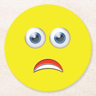 Scared Emoji Round Paper Coaster