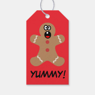 Scared Gingerbread Man Cookie Paper Gift Tag