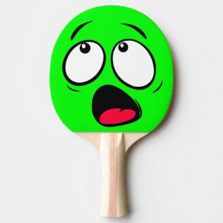 Scared Green Dayglow Emoji Ping Pong Paddle