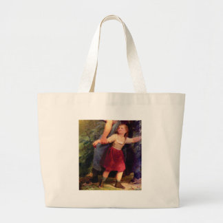 scared little girl large tote bag