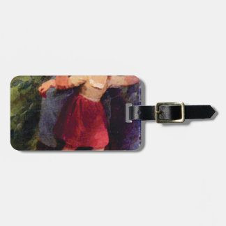 scared little girl luggage tag