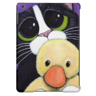 Scared Tuxedo Cat and Cuddly Duck Painting iPad Air Covers