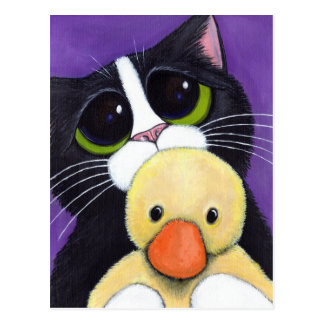 Scared Tuxedo Cat and Cuddly Duck Painting Postcard