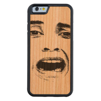 Scared Woman Expression Carved Cherry iPhone 6 Bumper Case