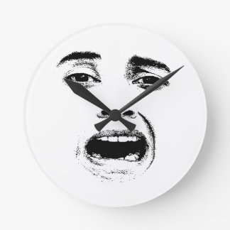 Scared Woman Expression Round Clock