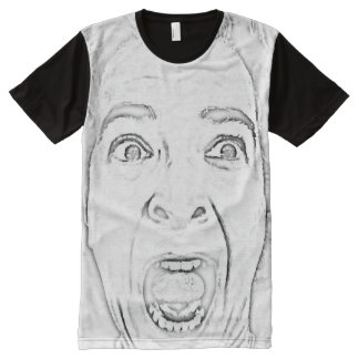 Scared Woman's Face Design Hilarious All-Over-Print T-Shirt
