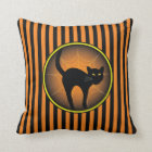 Scaredy Cat Halloween Throw Pillow