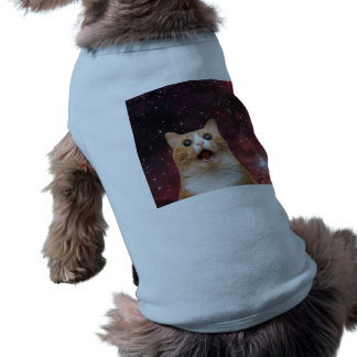 scaredy cat in space dog t-shirt