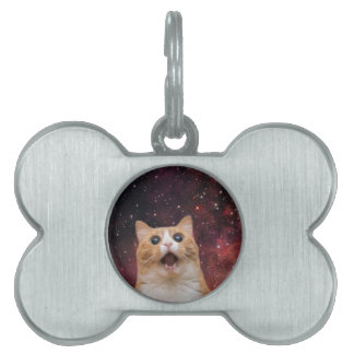 scaredy cat in space pet ID tags