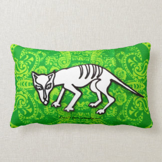 Scaredy Cat on green bandana print. Lumbar Pillow