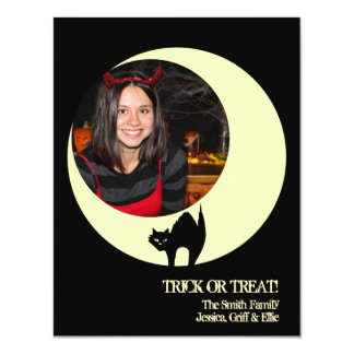 "Scaredy cat yellow moon Halloween photo greeting 4.25"" X 5.5"" Invitation Card"