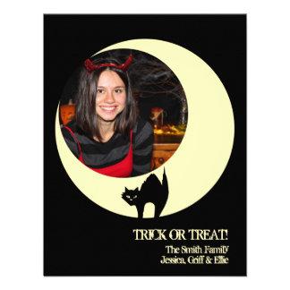 Scaredy cat yellow moon Halloween photo greeting Custom Invitations