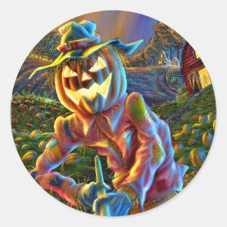 ScareJack O Lantern Scarecrow Round Sticker