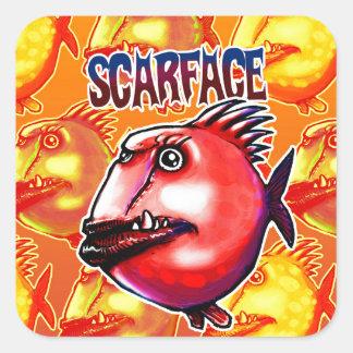 scarface fish square sticker