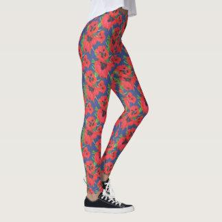Scarlet and Black Oriental Poppies Pattern on Blue Leggings