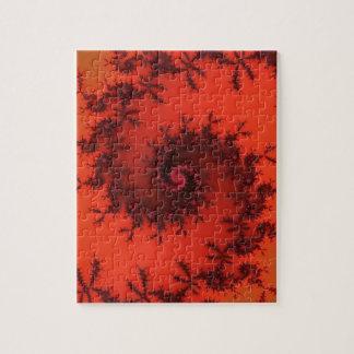 Scarlet and black spiral fractal. puzzles