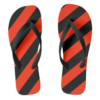 Scarlet and Black Striped Flip Flops
