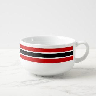 Scarlet and Black Striped School Colors Soup Mug