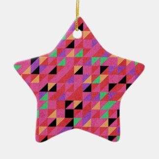 Scarlet and Crimson Triangles Ceramic Ornament