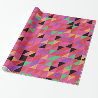 Scarlet and Crimson Triangles Wrapping Paper