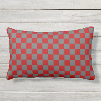 Scarlet and Gray Checkerboard Design Outdoor Pillow