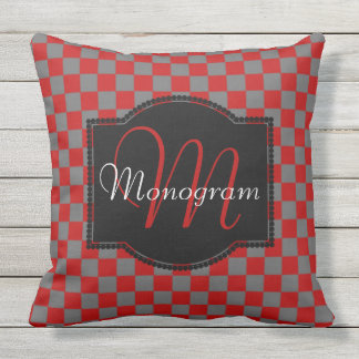 Scarlet and Gray Checkerboard Design with Monogram Outdoor Pillow