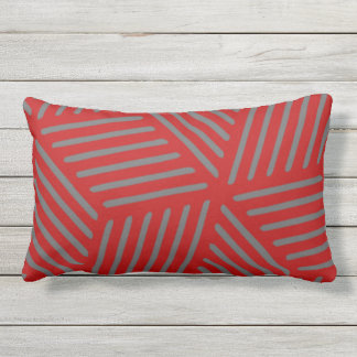 Scarlet and Gray Design Outdoor Pillow