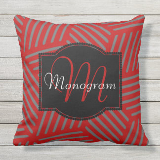 Scarlet and Gray Design with Monogram Outdoor Pillow