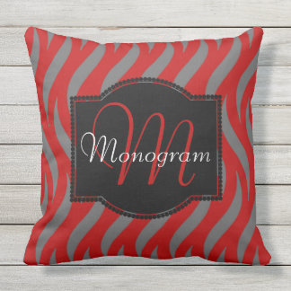 Scarlet and Gray Design with Monogram Throw Pillow