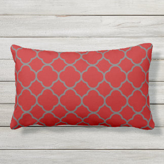 Scarlet and Gray Quatrefoil Design Outdoor Pillow