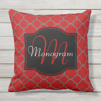 Scarlet and Gray Quatrefoil Design with Monogram Outdoor Pillow