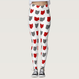 Scarlet and Gray State of Ohio Pattern Leggings