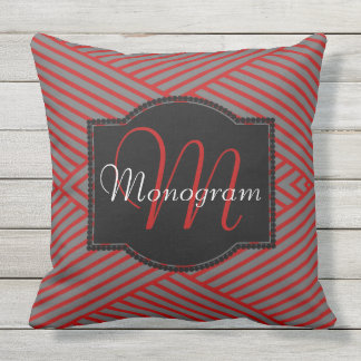 Scarlet and Gray Stripe Design with Monogram Outdoor Pillow