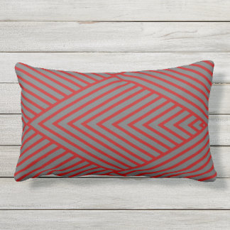Scarlet and Gray Stripe Lumbar Pillow