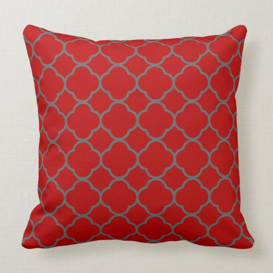 Scarlet and Grey Quatrefoil Design Throw Pillow