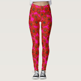 Scarlet and hot pink poppy floral printed leggings