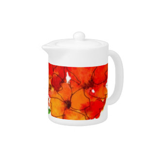 Scarlet and Orange Wallflowers on White