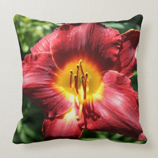 Scarlet and Yellow Daylily Throw Pillow