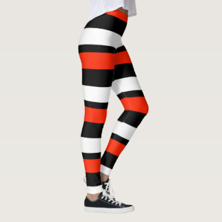 Scarlet Black and White Horizontally-Striped Leggings