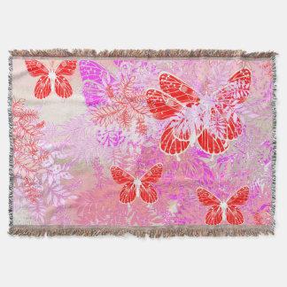 Scarlet Butterflies Throw Blanket