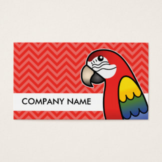 Scarlet Cartoon Macaw Parrot Bird Business Card