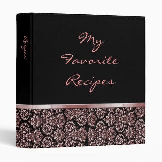 Scarlet Damask Ribbon Recipe Book Binder