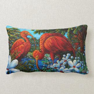 """Scarlet Ibis 13"""" X 21"""" Lumbar Throw Pillow"""