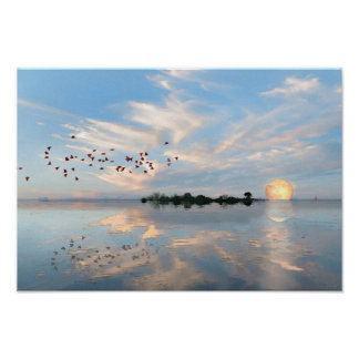 Scarlet Ibis and Full Moon Art Print