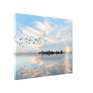 Scarlet Ibis and Full Moon Canvas Print