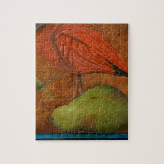 Scarlet Ibis On A Pear Jigsaw Puzzle