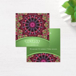Scarlet Lace Starburst Mandala Square Business Card