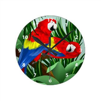 Scarlet Macaw Art Round Clock